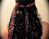 Vintage Black Colorful Boho Head Wrap or Belt
