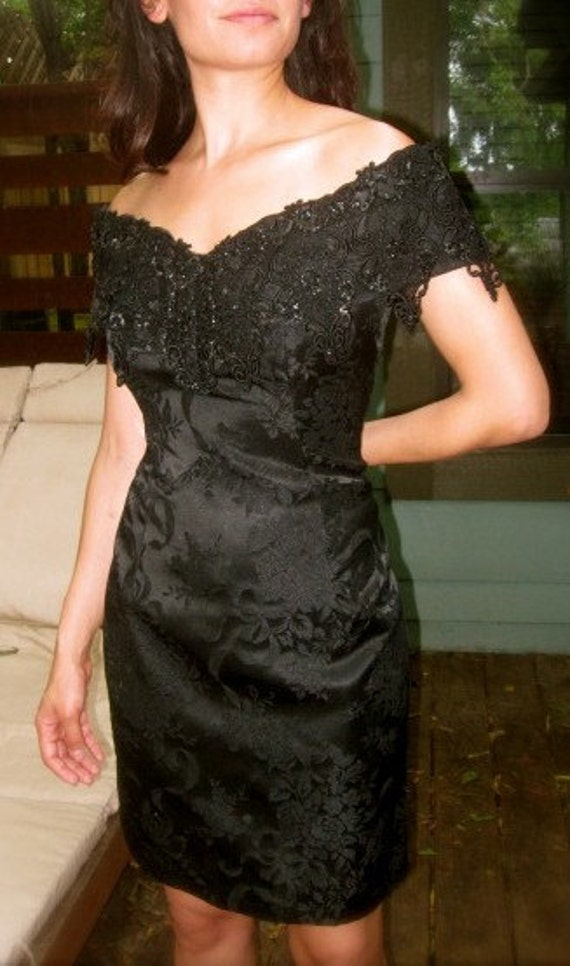 1980 Scott McClintock Black Lace Cocktail Dress