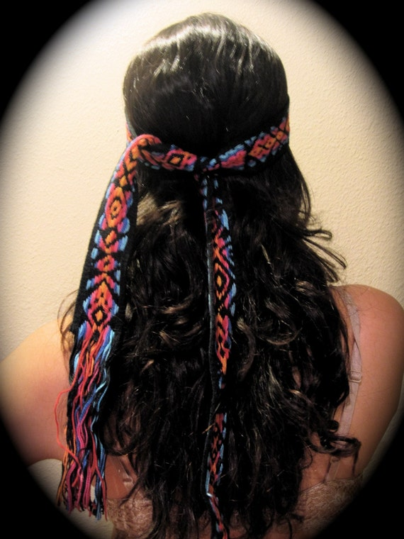 Vintage Black Colorful Boho Head Wrap or Belt