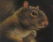 Squirrel Portrait Print - Squirrel Art - Animal Portrait - Squirrel Profile