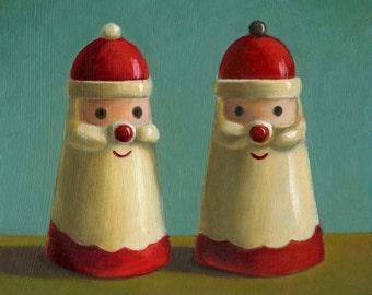 Santa Salt & Pepper Shakers Print  - Vintage Kitchen Print - Retro Christmas Print - Vintage Christmas - Retro Kitchen
