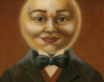 Moon Print, Moon Art, Moon Man Portrait, Full Moon, Victorian, Man on the Moon, Celestial Art, Lunar, Astrology, Astronomy, Harvest Moon