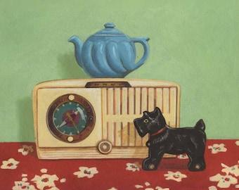 Vintage Kitchen Print -  Retro Kitchen Art  - Vintage Kitchen Decor - Hostess Gift - Housewarming Gift - Clock and Teapot Still Life