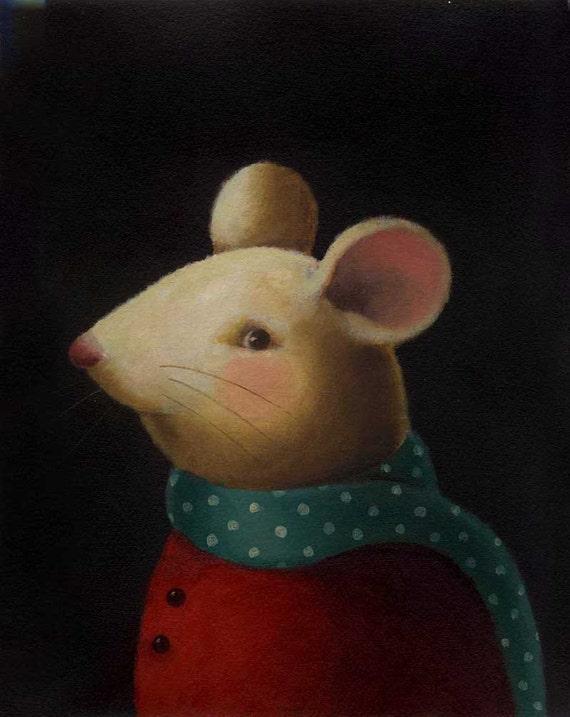 Mouse Portrait Print - Christmas Mouse - Green Polka Dot Scarf - Animal Portrait