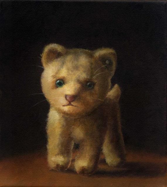 Vintage Steiff Cat Print - Stuffed CatToy - Children's Art