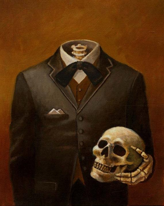 Skeleton Portrait Print - Headless - Skull Print - Victorian - Gothic - Steampunk