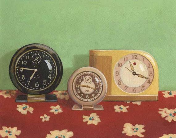 Retro Kitchen Print, Vintage Kitchen Decor,  Retro Still Life, Vintage Clock Print, Housewarming Gift, Hostess Gift, Retro Art, Kitchen Art