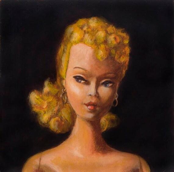 Vintage Barbie Print - Barbie Portrait - Pony Tail Barbie - Vintage Doll Art - Barbie Doll Print