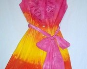 Tie Dye Sun Dress with ruffles and shirt tail hem in Bright Sunrise design