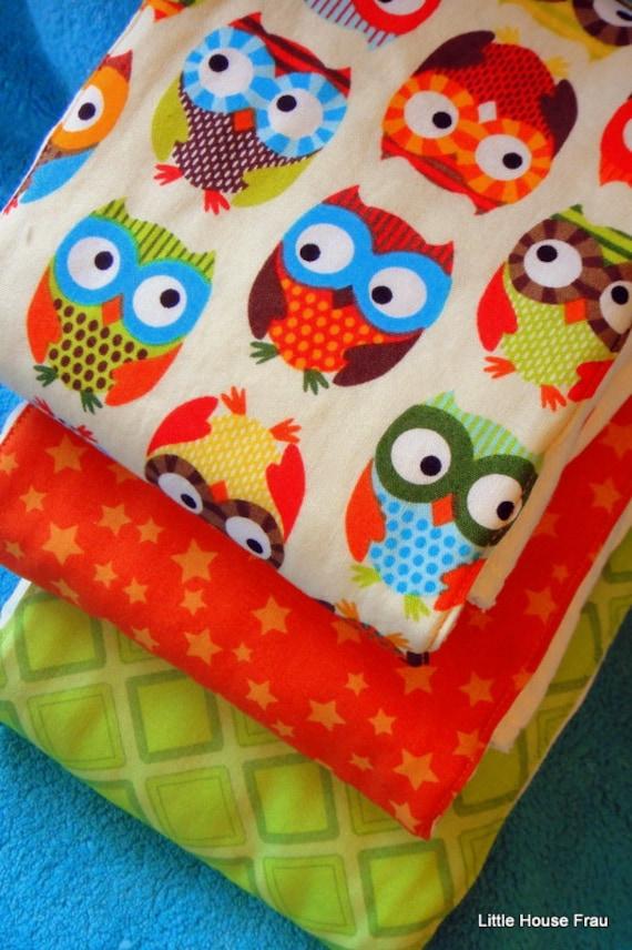 Neutral Owls Burp Rag 3-pack Cloth Diaper Set