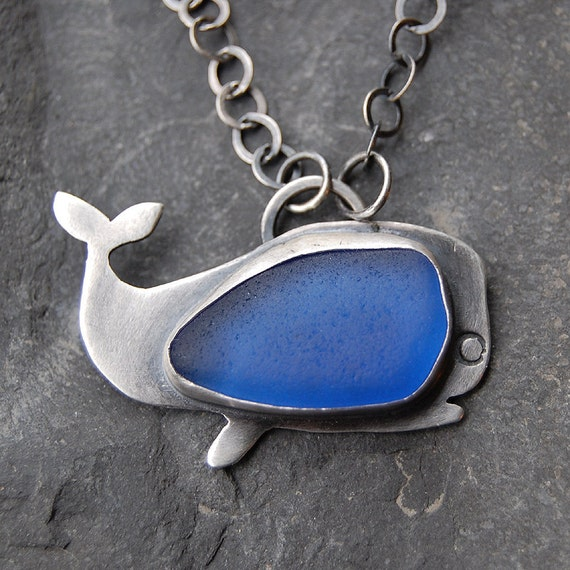 Sea Glass Jewelry - Sterling Silver Whale with Blue Glass and Bubble Necklace
