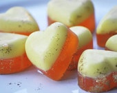 6 soaps - heart shape, favor , guest soap - Chocolate and Orange