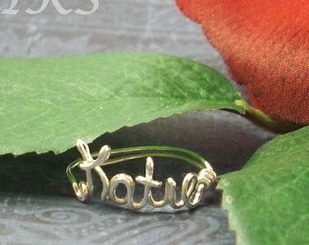 Sterling Silver Wire Name Ring