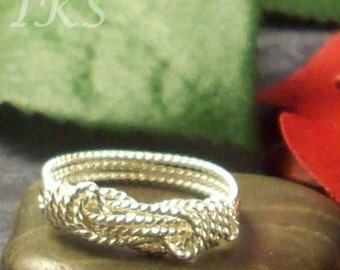 Sterling Silver Knot Ring with Twisted Wire