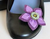 Felt Flower Shoe Clips in Purple and Green