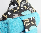 Hooded Bath Towel and Washcloth Set in Zoology Sea: for Babies, Toddlers and Preschoolers by SweeterThanSweets - Deluxe and ECO-FRIENDLY