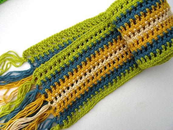 Crochet Scarf- Unisex, Teen, Women - Blue/Lime/Yellow