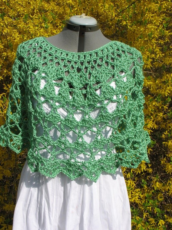 Lacy Crochet Ladies  Capelet, Shoulder Wrap, Shawl, Poncho, Cover Up -in Soft Green