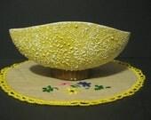 SHAWNEE CONFETTI Console Bowl Planter   Yellow and White Confetti Bowl