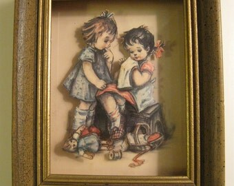 Vintage Framed SHADOWBOX 3-D Paper Art  Little Girls SEWING with Rag Doll