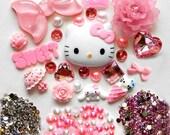 DIY Hello Kitty Bling Bling Flatback Resin Cabochons Kawaii DecoKit / Set Z130