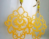 Yellow Chandelier Earrings. Lemon Paisley Earrings. The Persian Collection. Filigree Brass and Gold Earrings.