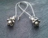 Silver Bellflower Earrings. Sparkling beads and floral caps. Long and Dangly