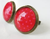 Polka Dot Stud Earrings. Pink and Red. Bright and fun. Tiny everyday studs that pack a punch.
