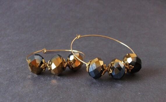 Black and Gold crystal GEAUX SAINTS Hoop Earrings. Crystal Jewelry. Vintage Inspired NFL fan jewelry.
