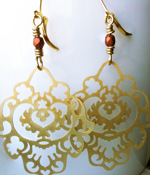 Paisley Chandelier Earrings. The Golden Lion. From The Persian Collection. Enamelled Brass Filigree and 18K Gold Plate
