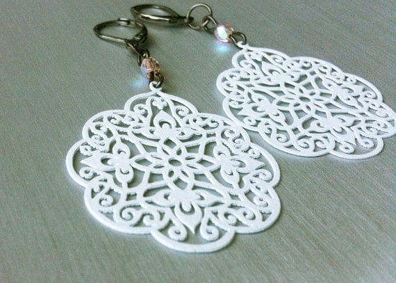 40% OFF! White lace earrings. Paisley Jewelry. Enameled Filigree Chandelier Earrings from The Persian Collection. White Garden of Paradise.