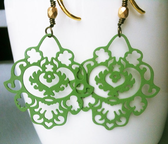 Paisley Chandelier Earrings. The Persian Collection. Zeitoon. Olive Green Enamelled Filigree Antiqued Brass & 18K Gold