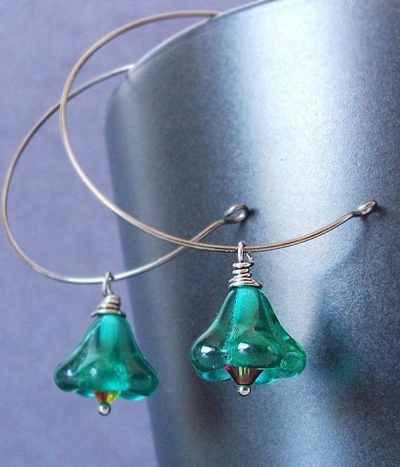 Green Flower Earrings. Peacock Teal Trumpets. Single Flower. Gunmetal, Czech Glass & Swarovski Earrings.