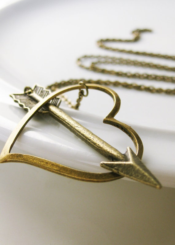 Cupid's Arrow Necklace. Antiqued Brass Lariat. Doubles as a bracelet. Shot through the heart.