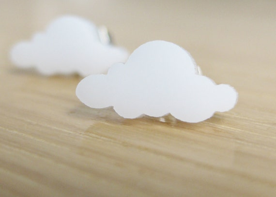 50% OFF SALE! Cloud Earrings. White Studs. Rainy Day  Laser Cut Acrylic Earrings. Silver post earrings. Teeny Tiny Everyday earrings