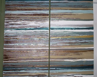 2 canvas modern abstract - horizontal paint drip