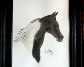 Custom Silhouette Pet Watercolor Portrait Painting of Cat, Dog, Horse, or Animal 5x7