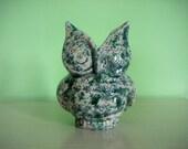 Speckled Ceramic Owl Planter - Blue/Green - Vintage