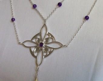 amthyst double chain pendant