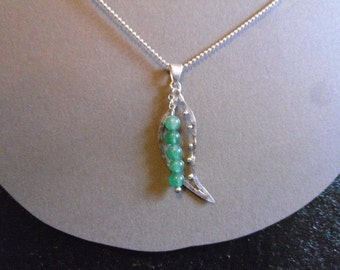 adventurine and sterling silver peapod pendant