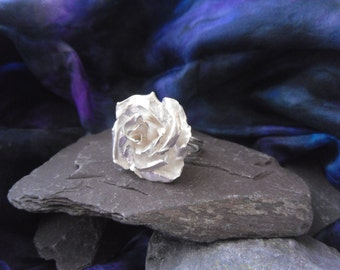 hammered rose ring, handmade