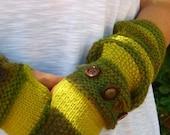 Handmade Multi Green Fingerless Gloves/Arm Warmer