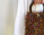 Pocketbook Knitted Hand Bag, Multicolor Brown Luxury Yarn Purse, Vintage Buttons Closure, Silk Lining