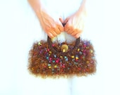 Knitted Kelly  Bag, Handmade, Brown Multicolor Luxury Yarn Purse, Vintage Button Closure, Silk Lining