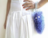 Knitted Hand Bag, Fluffy Luxury Lavender Yarn, Cheetah Plastic Handle, Zebra Lining, Mother Of Pearl Beads, OOAK