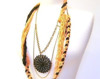 Body Jewelry, Statement Necklace, Fiber, Braided, Twisted Cotton Chenille Yarn, Copper Chain, Black Pendant, OOAK