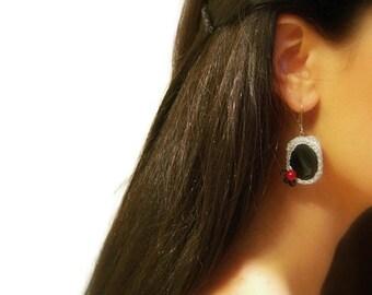 Crochet Dangle Earrings, Onyx, Black, Silver Cotton Yarn, Red, Glass Beads, Drop Hooks