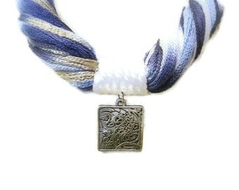 Blue Fiber Statement Necklace, Summer Multicolor Yarn, Navy, White, Engraved Square Antique Silver Pendant, Large Lobster Clasp
