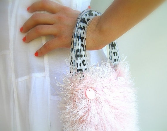 Fluffy Knitted Hand Bag, Soft Pink Luxury Yarn, Plastic Cheetah Handles, Zebra Lining, Mother of Pearl Beads, OOAK