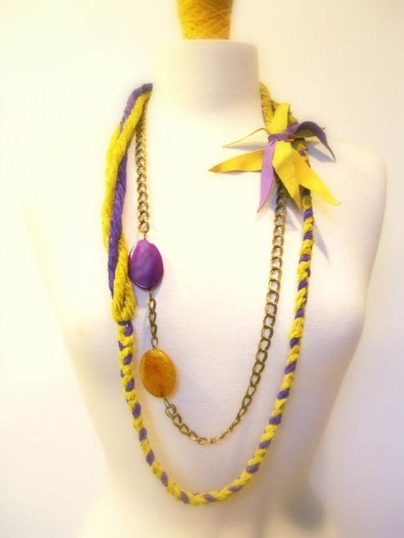 Braided Fiber Statement Necklace, Body Jewelry,  Belt, Twisted, Brass Chains, Purple and Mustard Yellow Agates, Suede Accent